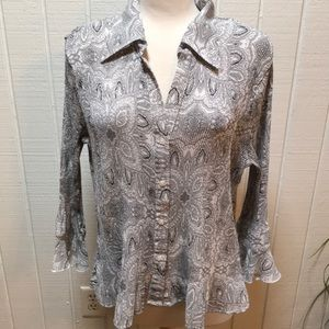 Grey & black paisley blouse with bell sleeves